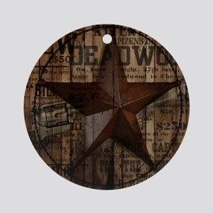 primitive  texas lone star cowboy Round Ornament
